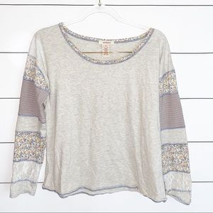 Sundance Floral Lace Stripe Long Sleeve Tee